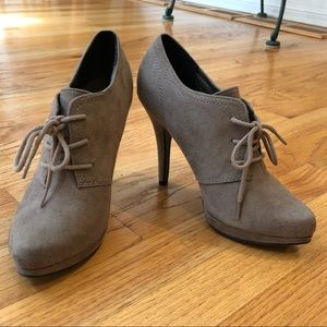 Taupe Lace- Up Booties